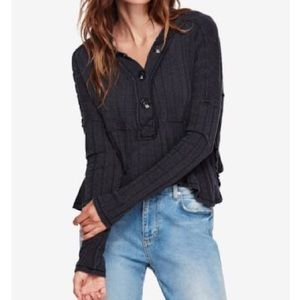 Free People In The Mix Black Top Size Medium NWT